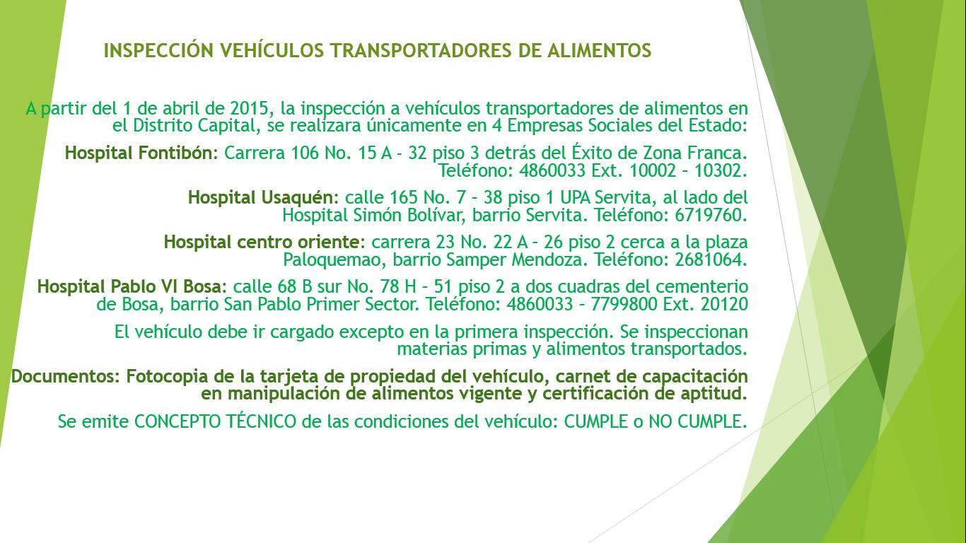 Inspeccion Vehiculos Transportadores De Alimentos En Bogota